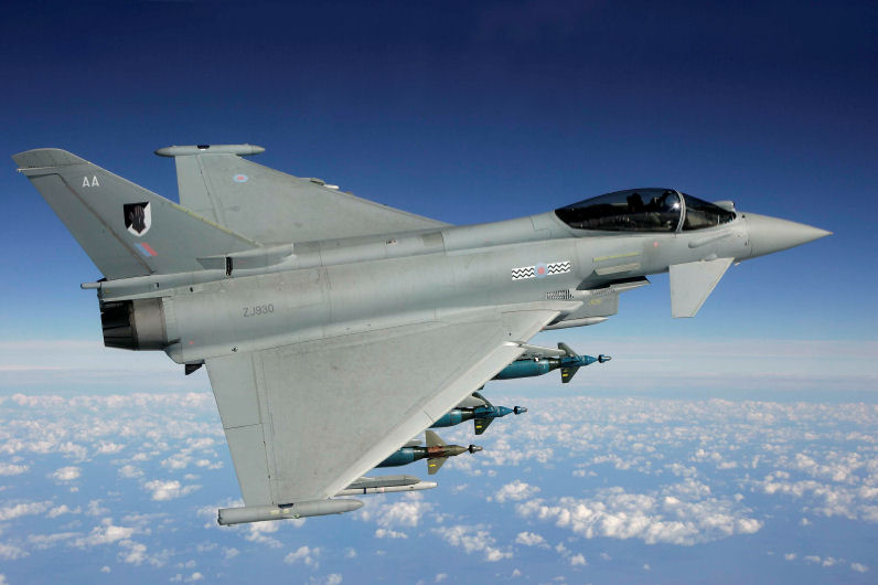 Typhoon with two instrumented (inner blue nose) pods from Cranfield Aerospace